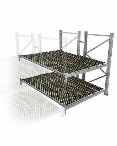Durchlaufregal, Anbauregal, Doppelregal, Höhe 2500 mm, Breite 3600 mm, Tiefe 2400 mm, 2 Ebenen, inklusive Interroll Versi Flow Einlegemodule