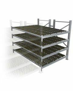 Durchlaufregal, Anbauregal, Doppelregal, Höhe 2500 mm, Breite 3600 mm, Tiefe 2400 mm, 4 Ebenen, inklusive Interroll Versi Flow Einlegemodule
