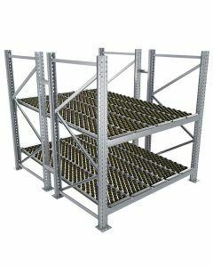 Durchlaufregal, Grundregal, Doppelregal, Höhe 2500 mm, Breite 2700 mm, Tiefe 2400 mm, 2 Ebenen, inklusive Interroll Versi Flow Einlegemodule