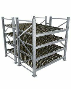 Durchlaufregal, Grundregal, Doppelregal, Höhe 2500 mm, Breite 2700 mm, Tiefe 2400 mm, 4 Ebenen, inklusive Interroll Versi Flow Einlegemodule