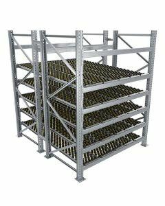Durchlaufregal, Grundregal, Doppelregal, Höhe 2500 mm, Breite 3600 mm, Tiefe 2400 mm, 5 Ebenen, inklusive Interroll Versi Flow Einlegemodule