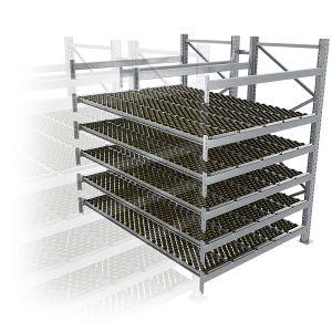 Durchlaufregal, Anbauregal, Doppelregal, Höhe 2500 mm, Breite 3600 mm, Tiefe 2400 mm, 5 Ebenen, inklusive Interroll Versi Flow Einlegemodule