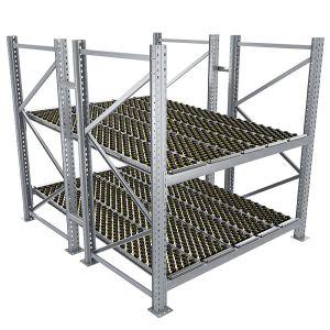 Durchlaufregal, Grundregal, Doppelregal, Höhe 2500 mm, Breite 3600 mm, Tiefe 2400 mm, 2 Ebenen, inklusive Interroll Versi Flow Einlegemodule