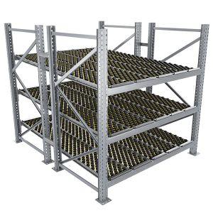 Durchlaufregal, Grundregal, Doppelregal, Höhe 2500 mm, Breite 2700 mm, Tiefe 2400 mm, 3 Ebenen, inklusive Interroll Versi Flow Einlegemodule