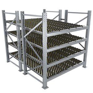 Durchlaufregal, Grundregal, Doppelregal, Höhe 2500 mm, Breite 1825 mm, Tiefe 2400 mm, 4 Ebenen, inklusive Interroll Versi Flow Einlegemodule