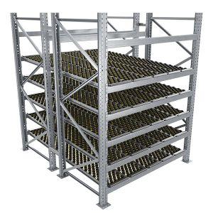 Durchlaufregal, Grundregal, Doppelregal, Höhe 2500 mm, Breite 1825 mm, Tiefe 2400 mm, 5 Ebenen, inklusive Interroll Versi Flow Einlegemodule