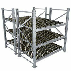 Durchlaufregal, Grundregal, Doppelregal, Höhe 2500 mm, Breite 3600 mm, Tiefe 2400 mm, 3 Ebenen, inklusive Interroll Versi Flow Einlegemodule