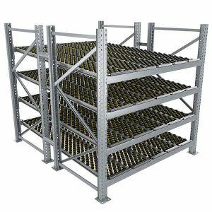 Durchlaufregal, Grundregal, Doppelregal, Höhe 2500 mm, Breite 3600 mm, Tiefe 2400 mm, 4 Ebenen, inklusive Interroll Versi Flow Einlegemodule